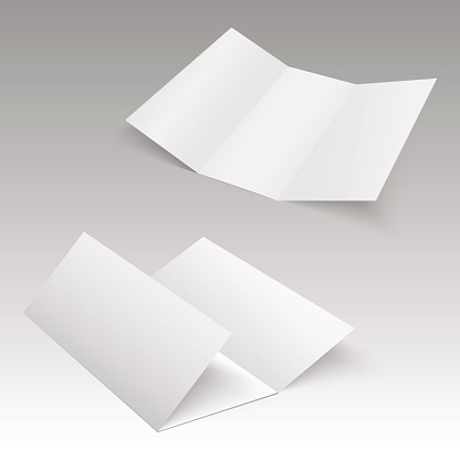 Trifold white template paper. Vector illustration