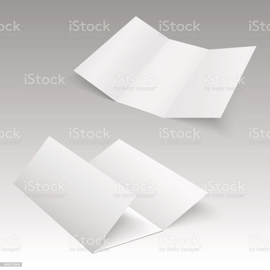 Trifold white template paper. Vector illustration vector art illustration