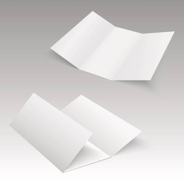 trifold white template paper. vector illustration - składany stan stock illustrations