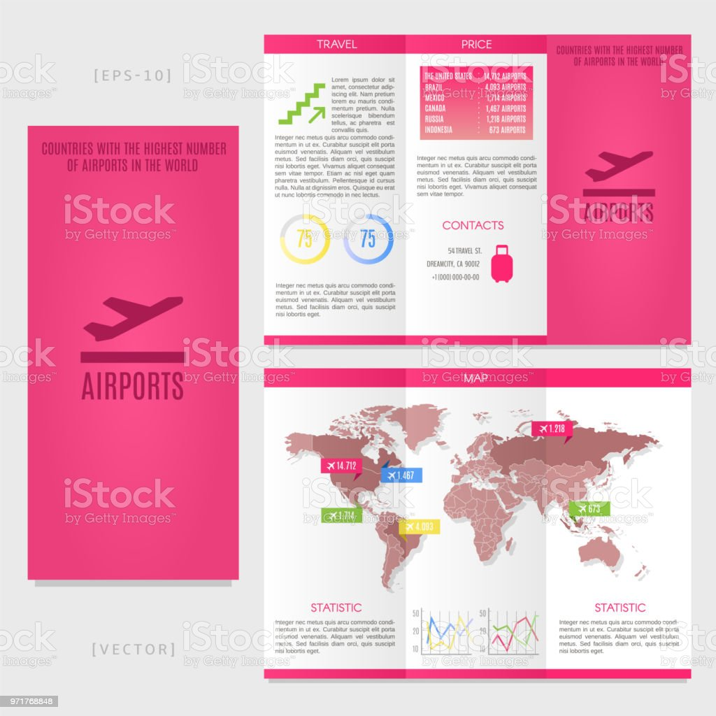 tri fold world map brochure template countries with the highest number of airports in