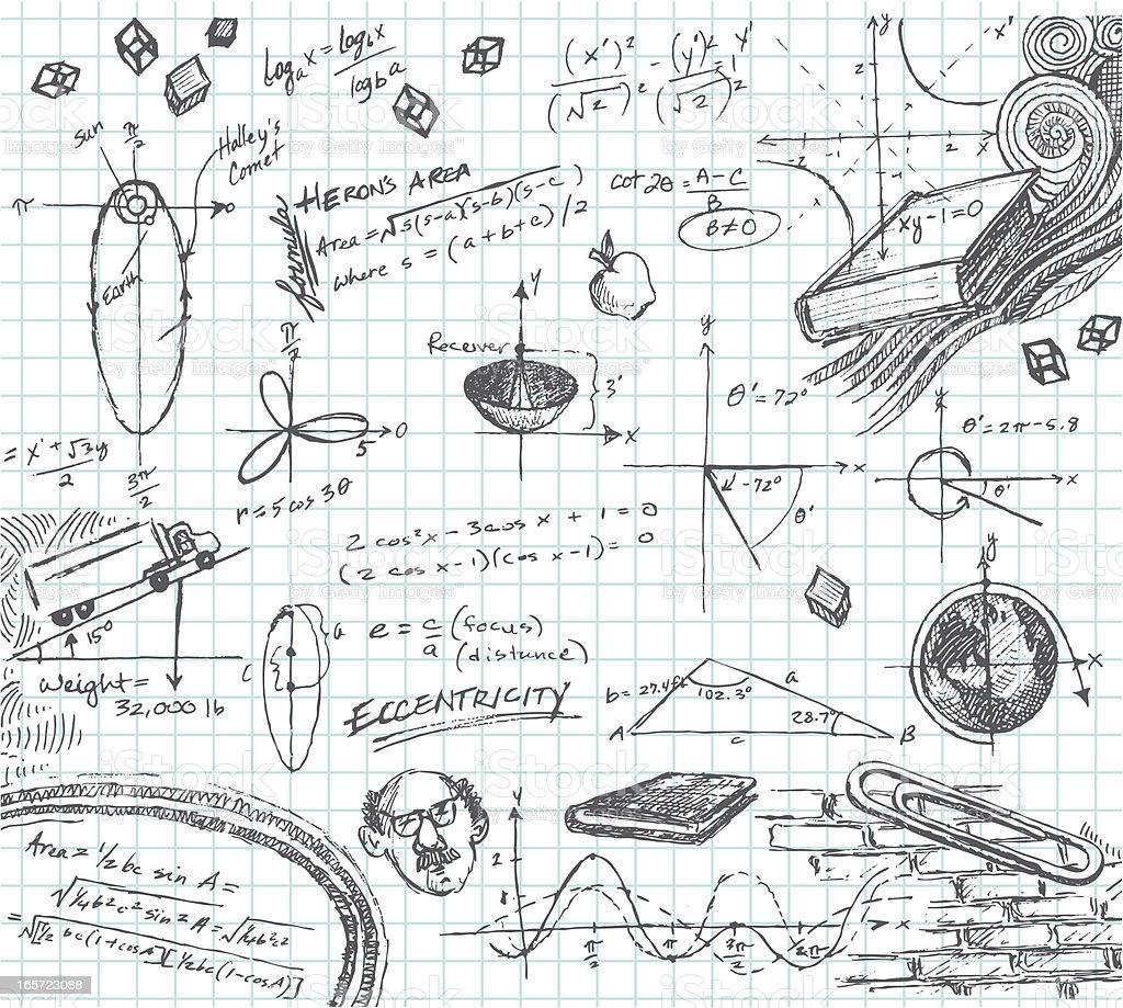trigonometry math class doodle stock vector art  u0026 more