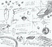 Hand-drawn doodle pencil sketch of various math functions and story problems. Graph paper on layer that can be easily removed. XL 5000x5000 jpeg included.