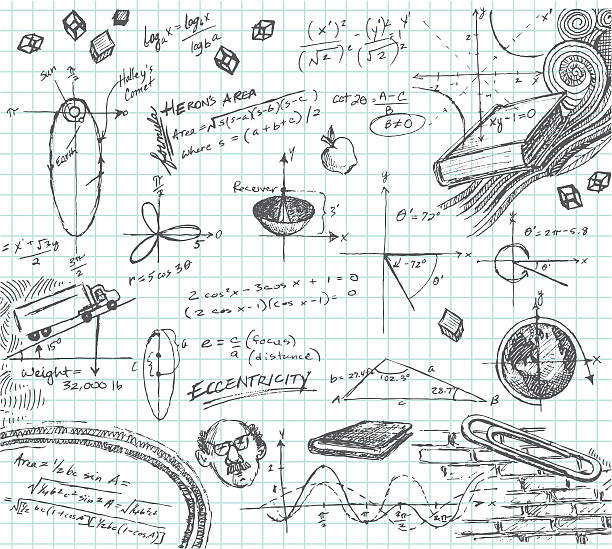 ilustrações, clipart, desenhos animados e ícones de trigonometria aula de matemática rabisco - aula de ciências