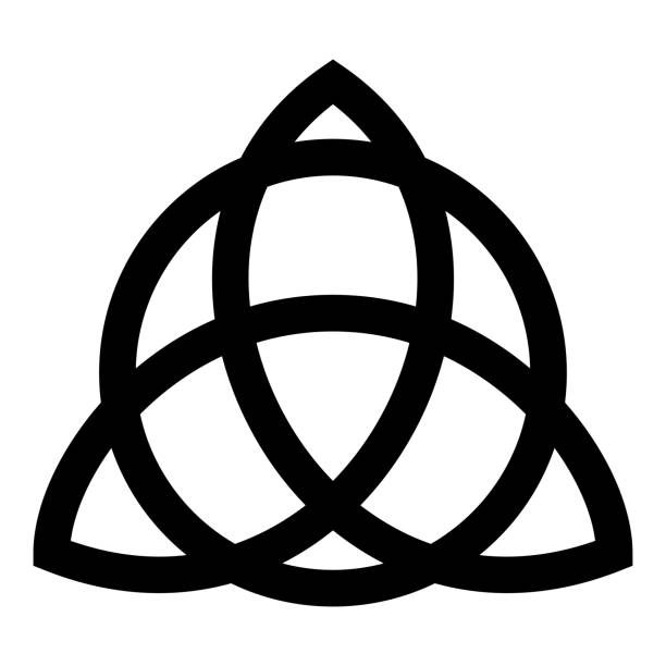 Trikvetr knot with circle Power of three viking symbol tribal for tattoo Trinity knot icon black color vector illustration flat style image Trikvetr knot with circle Power of three viking symbol tribal for tattoo Trinity knot icon black color vector illustration flat style simple image celtic knot stock illustrations