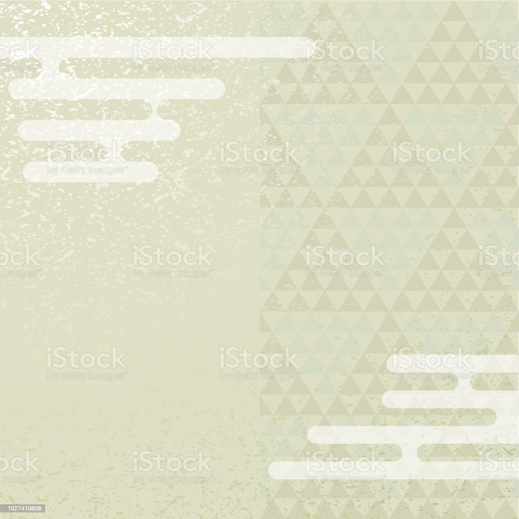 Trilateral pattern and mist. Japanese background material. vector art illustration
