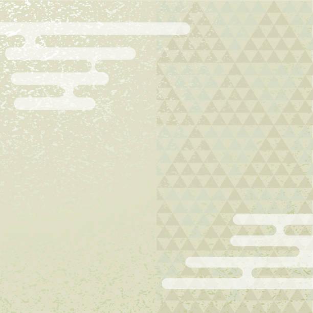 三極パターンと霧。日本の背景素材。 ベクターアートイラスト