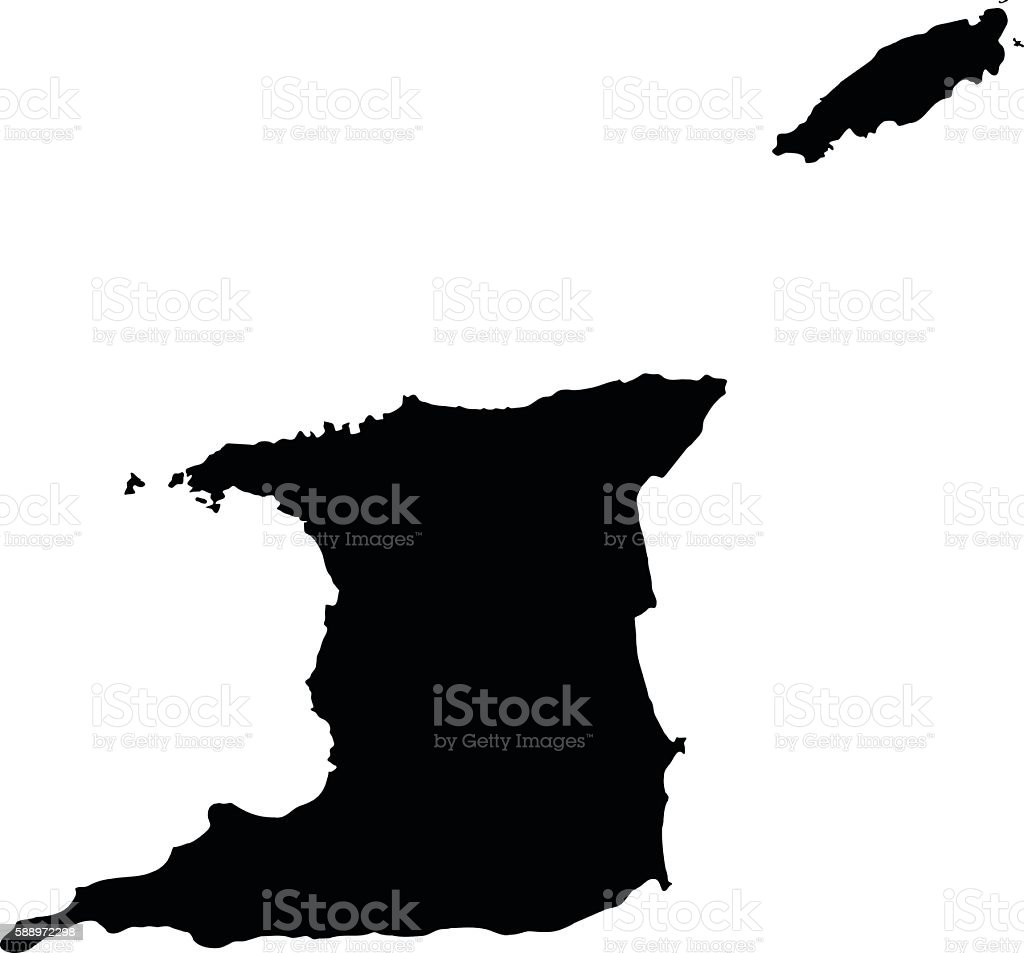 Trinidad and Tobago black map on white background vector vector art illustration
