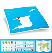 Map of Trinidad and Tobago with design elements, isolated on white background.