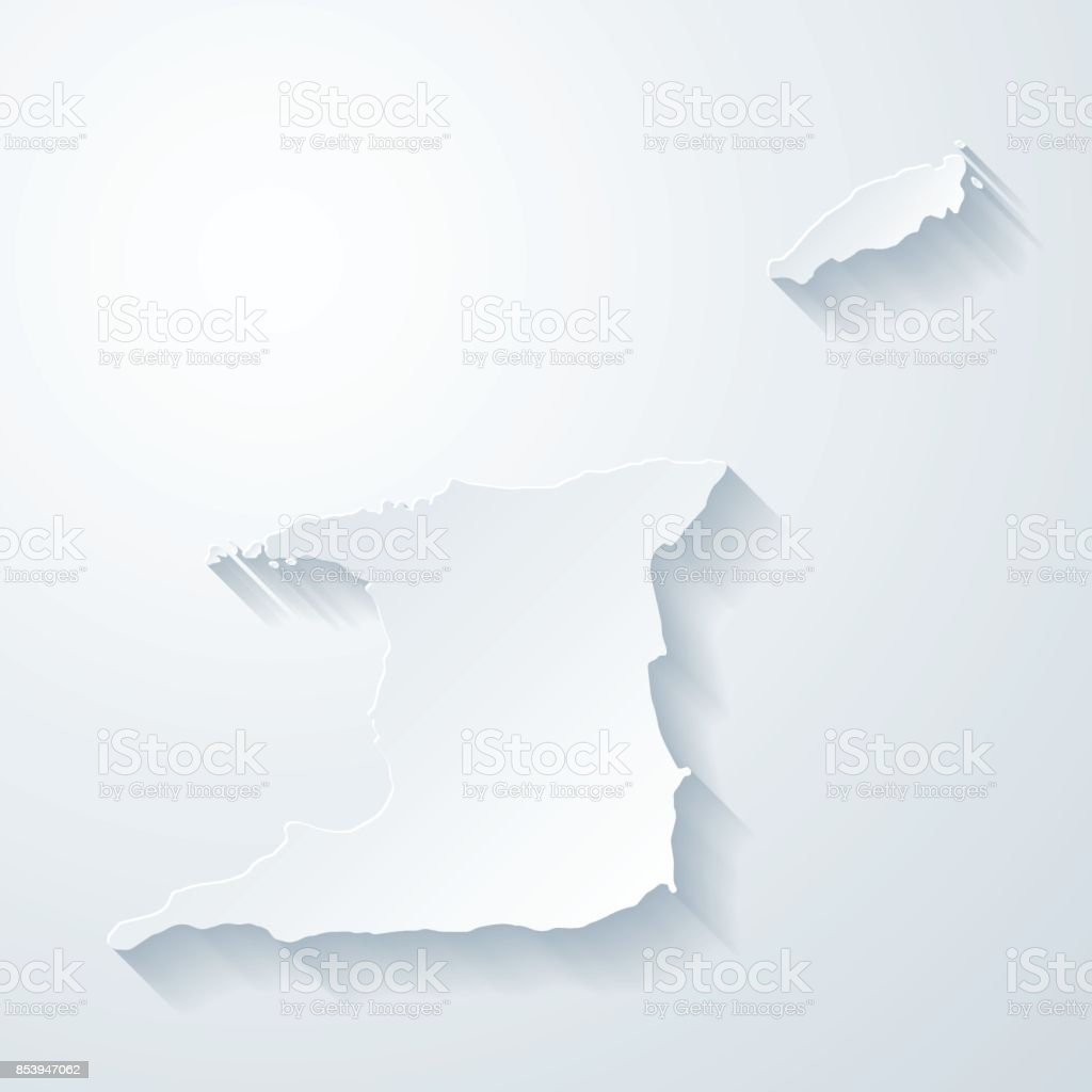 Trinidad and Tobago map with paper cut effect - Blank background vector art illustration