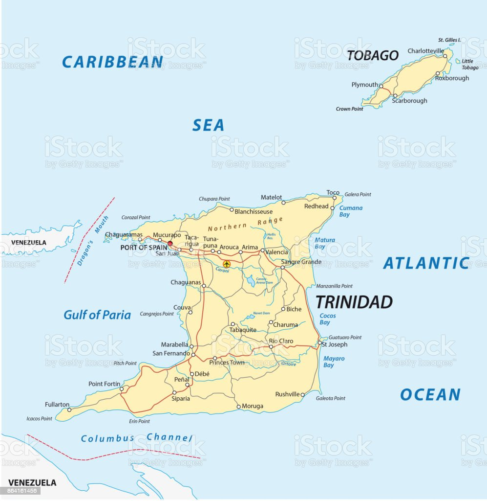 trinidad and tobago road map royalty-free trinidad and tobago road map stock vector art & more images of antilles