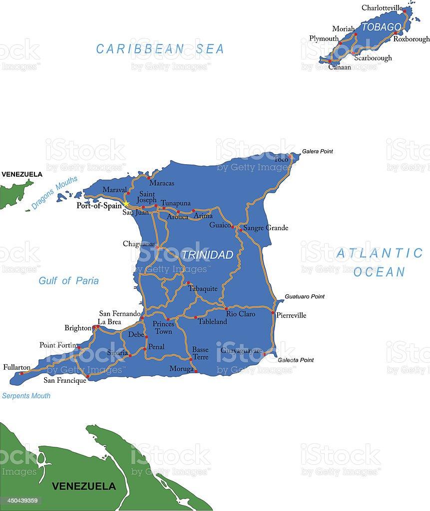 Trinidad & Tobago map royalty-free stock vector art