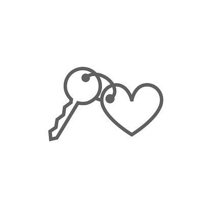 Trinket for keys as heart line icon