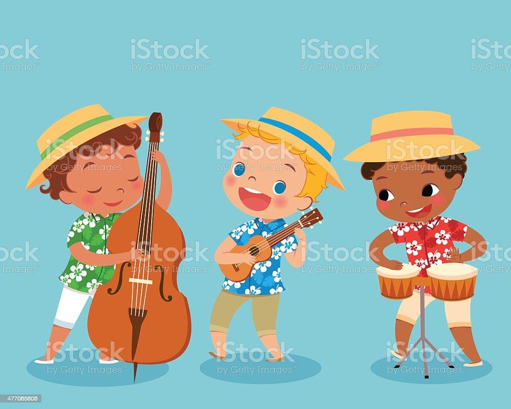 trio band vector art illustration