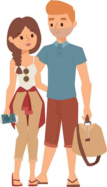 bildbanksillustrationer, clip art samt tecknat material och ikoner med trip abroad vector illustration. - young couple