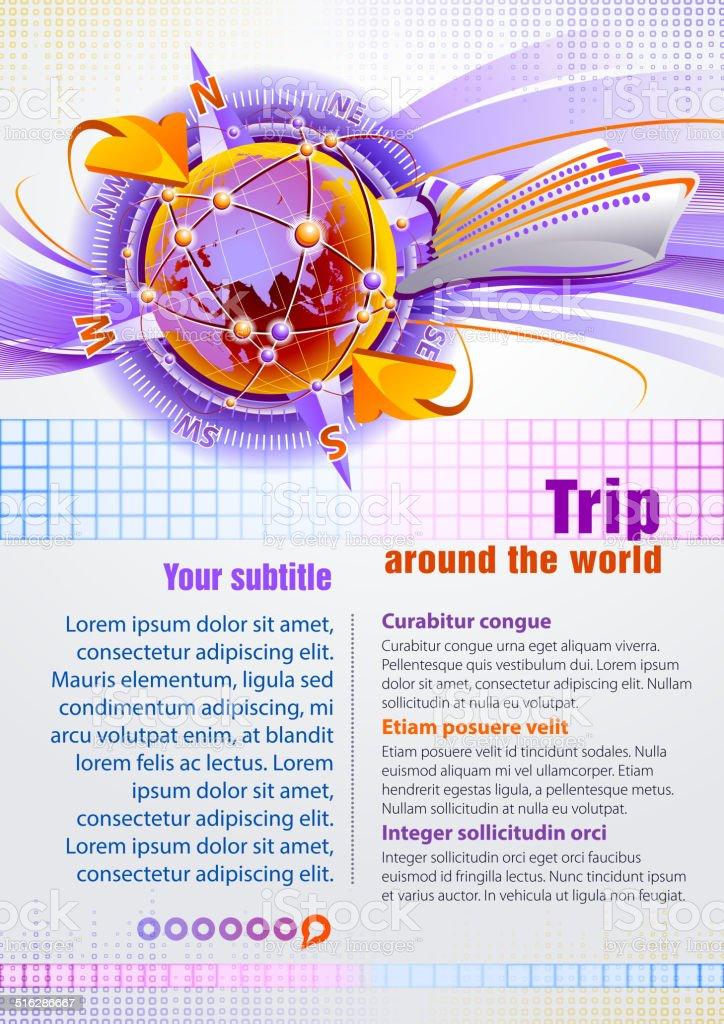 Trip around the world vector art illustration