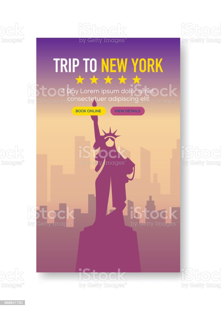 Trip To New York Banner vector art illustration