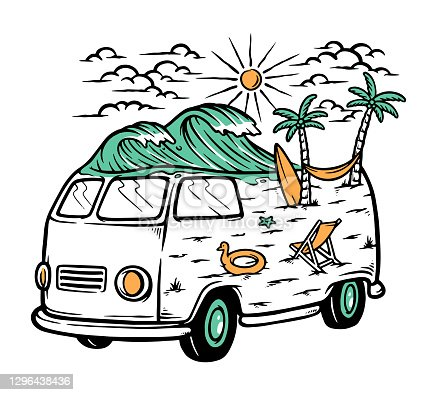 istock Trip to the beach illustration 1296438436