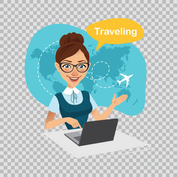 trip to world.travel to world.travel agency banner.travel agent works on laptop. illustration on transparent background. - travel agent stock illustrations, clip art, cartoons, & icons