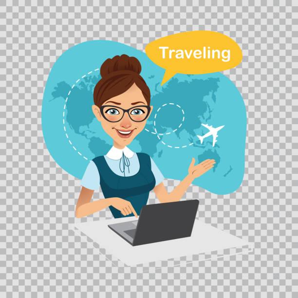 reise nach world.travel, world.travel agentur banner. reisebüro arbeitet am laptop. abbildung auf transparentem hintergrund. - reisebüro stock-grafiken, -clipart, -cartoons und -symbole