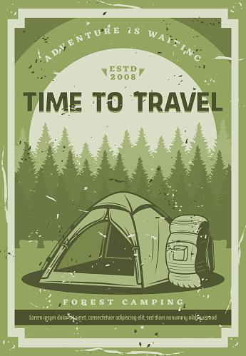 Trip, wild nature camping adventure