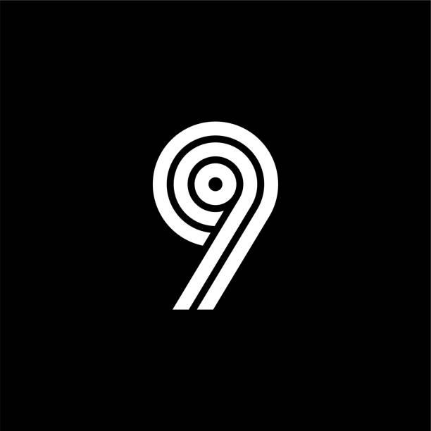 Triple Double Line Number Logotype 9 vector art illustration