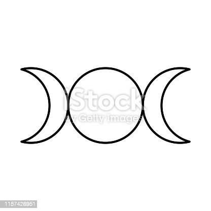 Triple goddess symbol, moon phases, Maiden, Mother and Crone. Mythology, wicca, witchcraft. Vector illustration