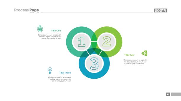 Triple Intersect Graph Slide Template Triple intersect graph slide template. Business data. Chart, diagram. Creative concept for infographic, presentation, report. Can be used for topics like finance, statistics, development crisscross stock illustrations