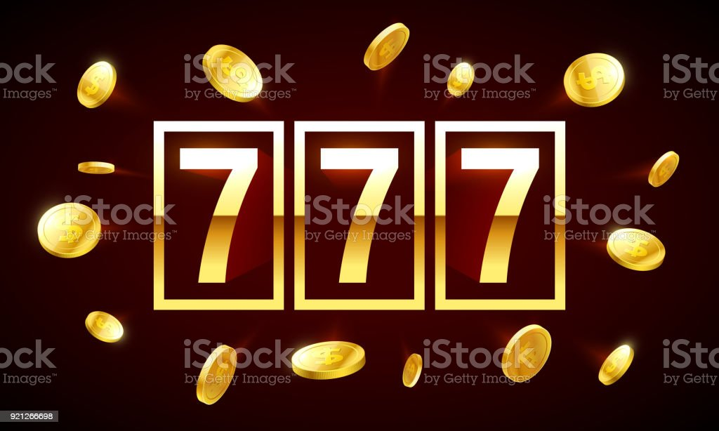 777, triple lucky sevens jackpot vector art illustration