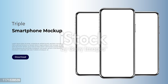 Triple realistic smartphone template mockup for user experience presentation. Stylish concept design for websites, applications and landing pages.