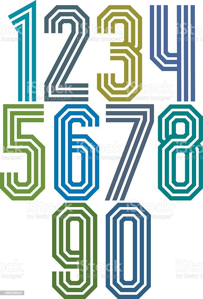 Triple stripe geometric numbers. vector art illustration