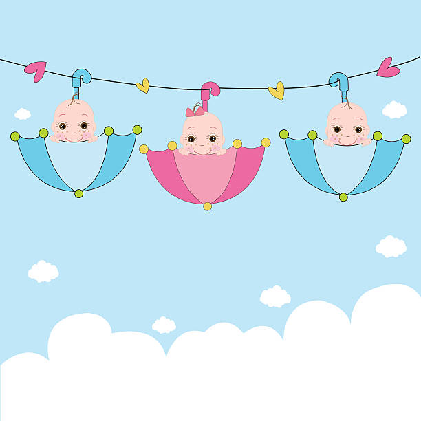 Baby Shower Twins Clip Art ~ Royalty free triplet babies clip art vector images