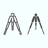Tripod line and solid icon. Tripod without camera vector illustration isolated on white. Camera tripod outline style design, designed for web and app. Eps 10