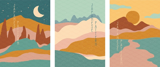 Triptych of simple stylised minimalist Japanese landscapes