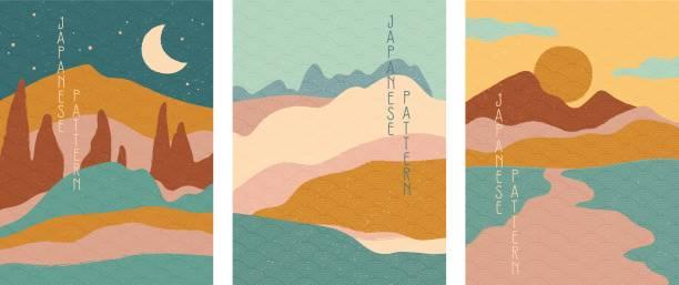 illustrazioni stock, clip art, cartoni animati e icone di tendenza di triptych of simple stylised minimalist japanese landscapes - landscape