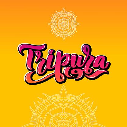 Tripura Handwritten stock lettering typography. States of India