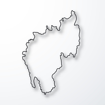 Tripura map - Black outline with shadow on white background