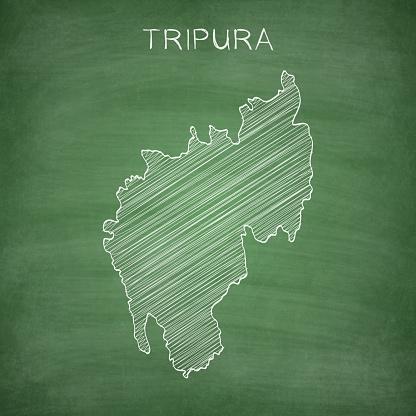 Tripura map drawn on chalkboard - Blackboard