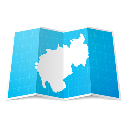 Tripura map folded, isolated on white background
