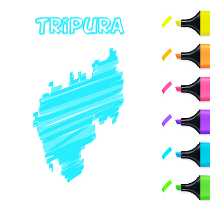 Tripura map hand drawn with blue highlighter on white background