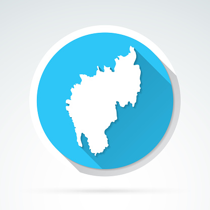 Tripura map icon - Flat Design with Long Shadow