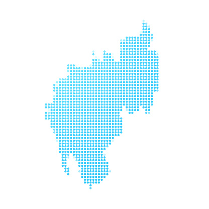 Tripura map in blue dots on white background