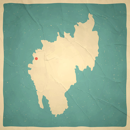 Tripura map in retro vintage style - Old textured paper