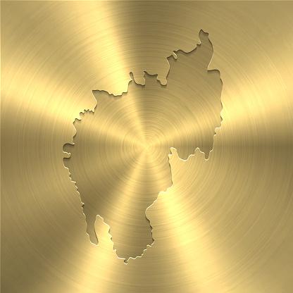 Tripura map on gold background - Circular brushed metal texture