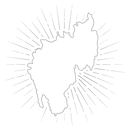 Tripura map with sunbeams on white background