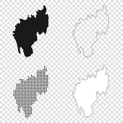 Tripura maps for design - Black, outline, mosaic and white