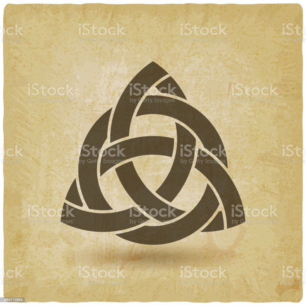 triquetra in circle old background vector art illustration