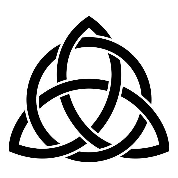 Triquetra in circle Trikvetr knot shape Trinity knot icon black color vector illustration flat style image Triquetra in circle Trikvetr knot shape Trinity knot icon black color vector illustration flat style simple image celtic knot stock illustrations