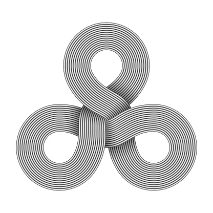 Triquetra knot sign made of three connected rings composed of metal wires. Vector illustration.