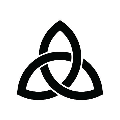 Triquetra sign icon. Leaf-like celtic symbol. Trinity or trefoil knot. Simple black vector illustration