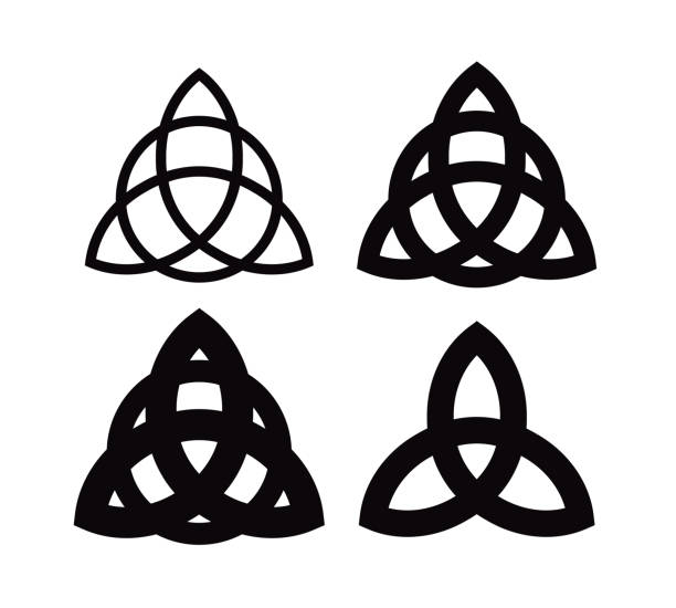 Triquetra - Wiccan symbol from Charmed. Celtic Pagan trinity knots different forms. Vector icons of ancient emblems. Triquetra - Wiccan symbol from Charmed. Celtic Pagan trinity knots different forms - Vector icons of ancient emblems. celtic style stock illustrations